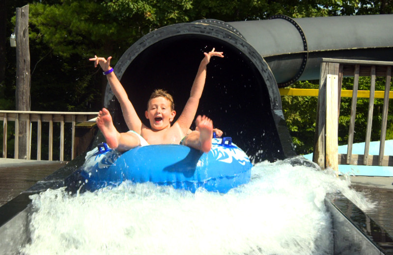 Kids on water slide at Zoom Flume Water Park.