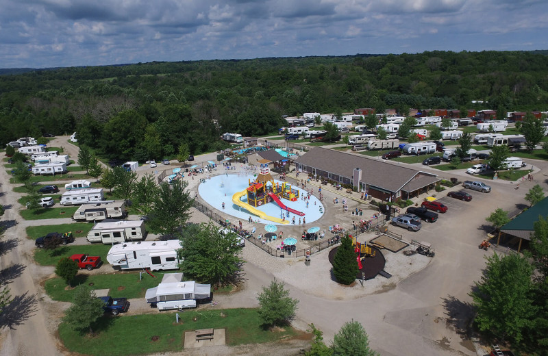 Aerial view of Jellystone Park at Lake Monroe.