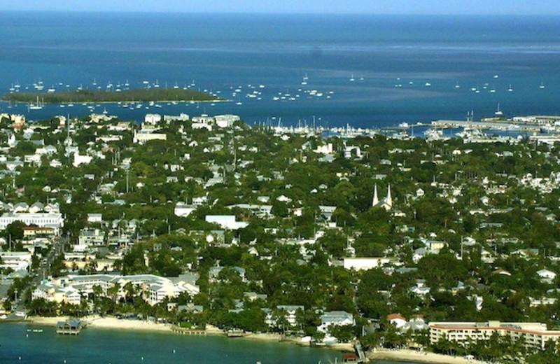Aerial view of Mermaid & Alligator Key West.