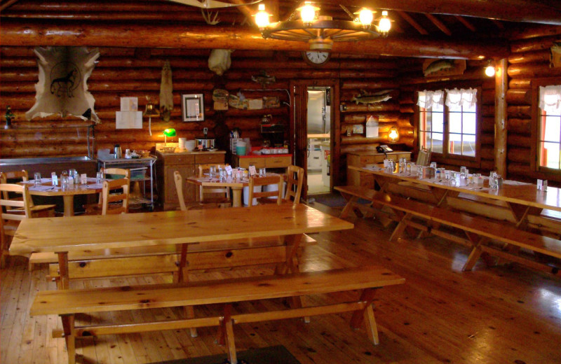 Dining at Manotak Lodge.
