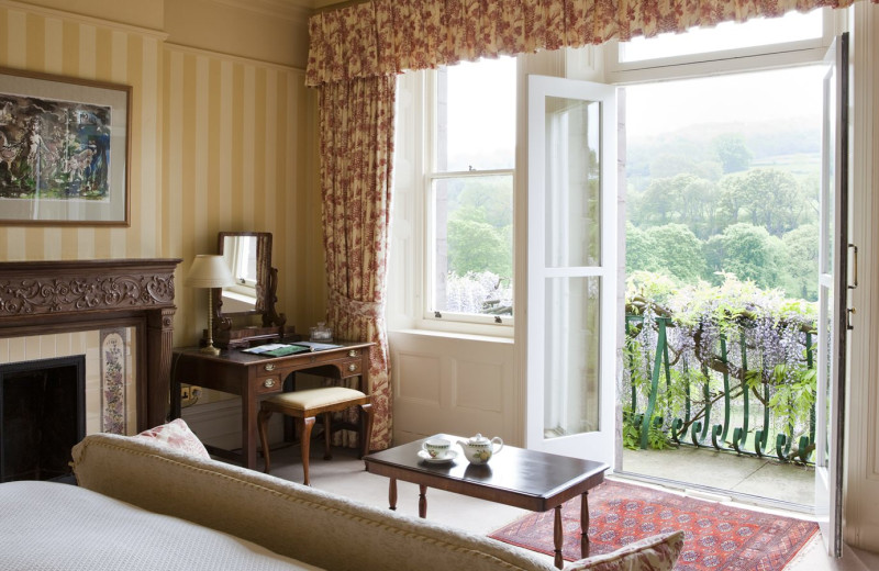 Guest room at Gliffaes Country House Hotel.