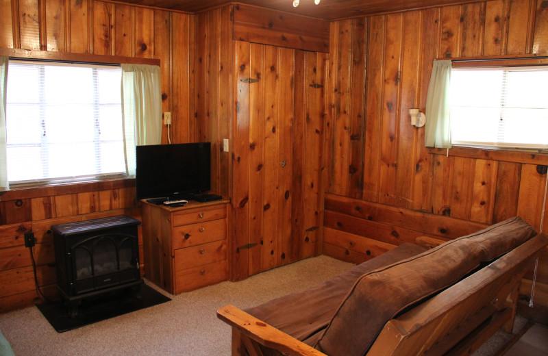 Cabin living room at Hidden Rest Resort.