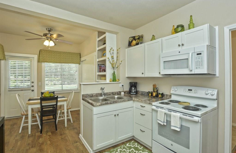 Rental kitchen at River City Resorts.
