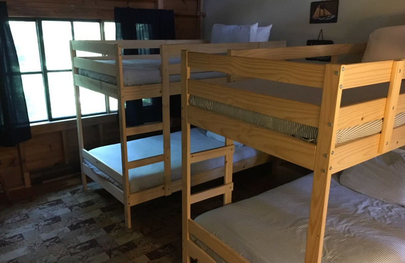 Cabin bunk beds at Linekin Bay Resort.