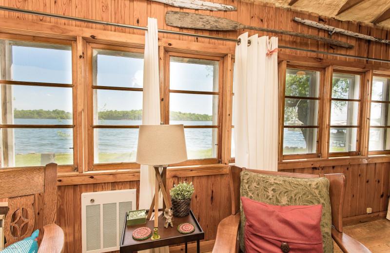 Cabin lake view at Sybil Shores Resort.
