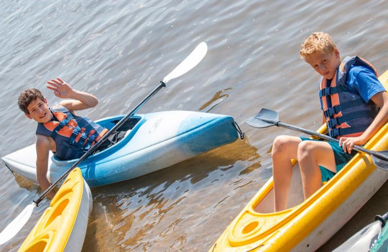 Kayaks at Ruttger's Bay Lake Lodge.