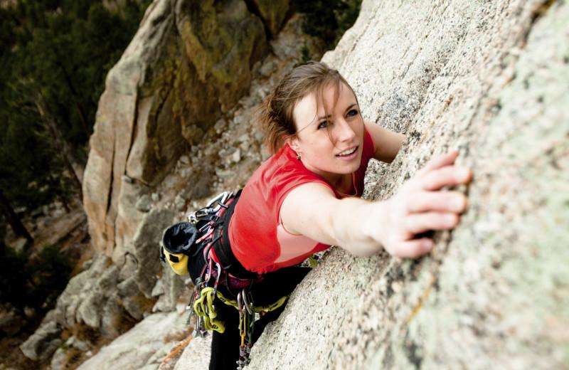 Rock climbing near Boulder Mountain Lodge.