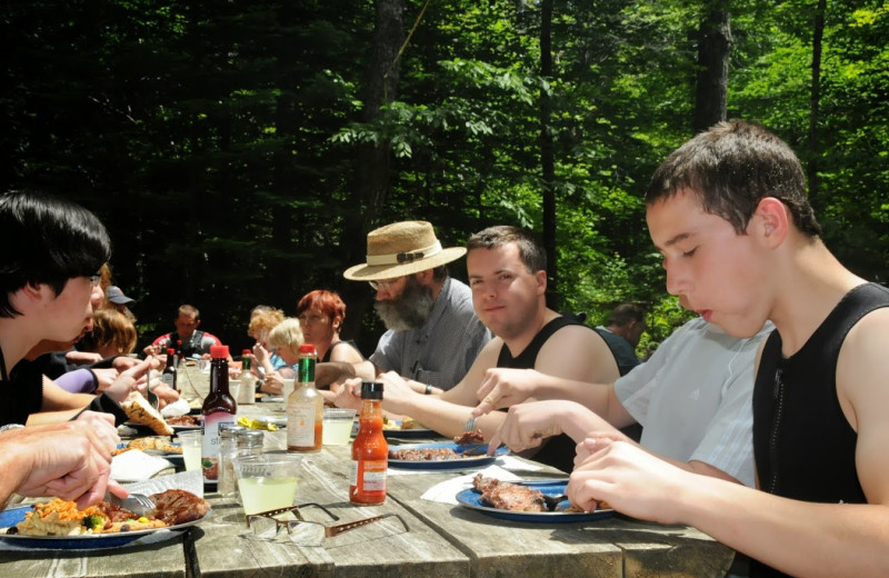 Group gathering at New England Outdoor Center.