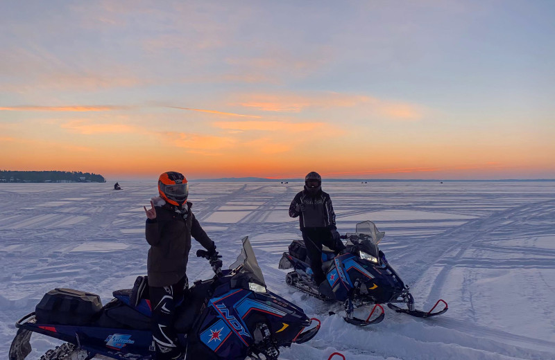 Snowmobiling at Cragun's Resort and Hotel on Gull Lake.