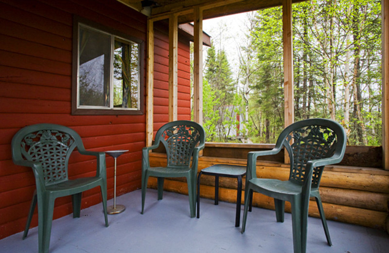 Cabin deck at Uchi Lake Lodge.