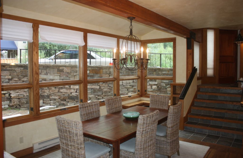 Rental dining room at Welcome to Telluride Vacation Rentals.