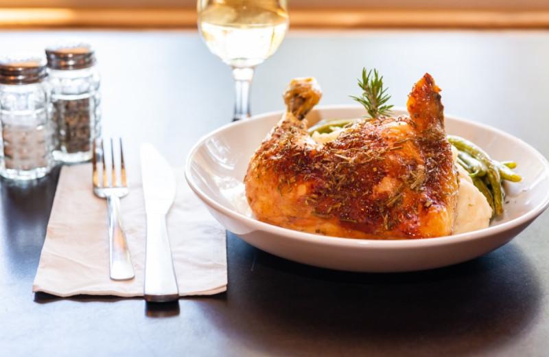 Chicken dinner at North Shore Lodge & Resort.