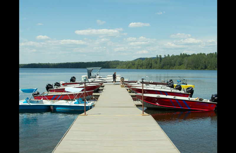Boats at Obabika Resort.