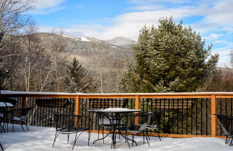 Winter deck at Silver Fox Inn.