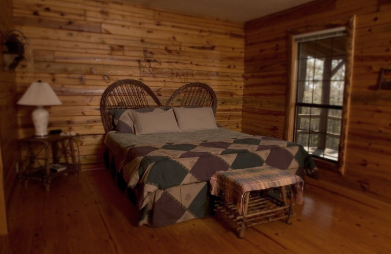 Cabin bedroom at Silver Ridge Resort.