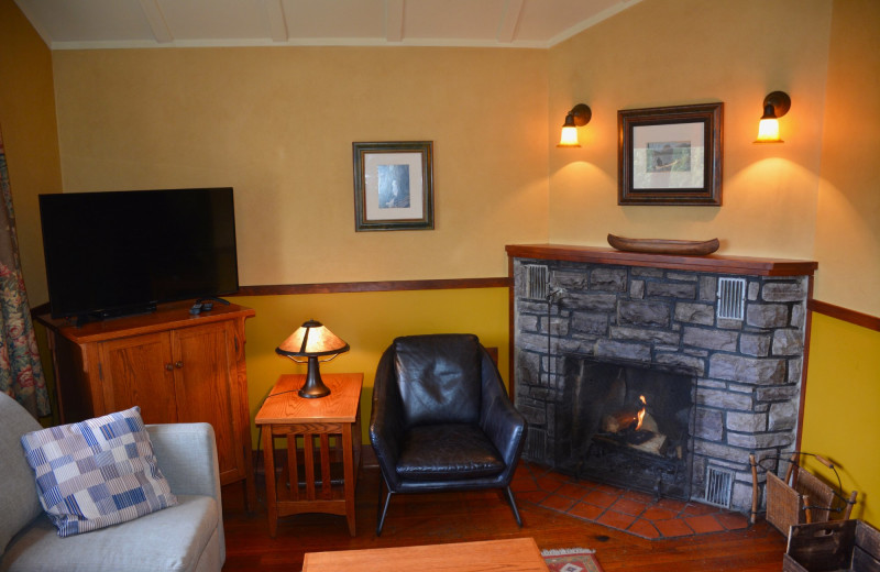 Cabin living room at Johnston Canyon Resort.