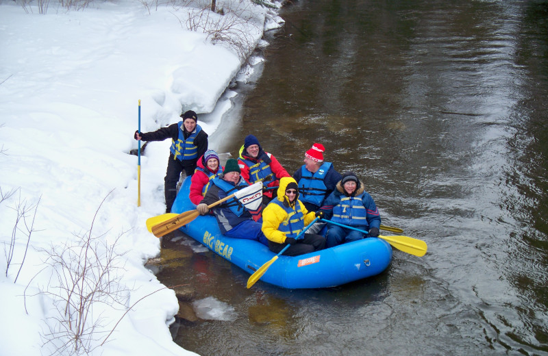 Winter rafting at Northwoods Lodge.