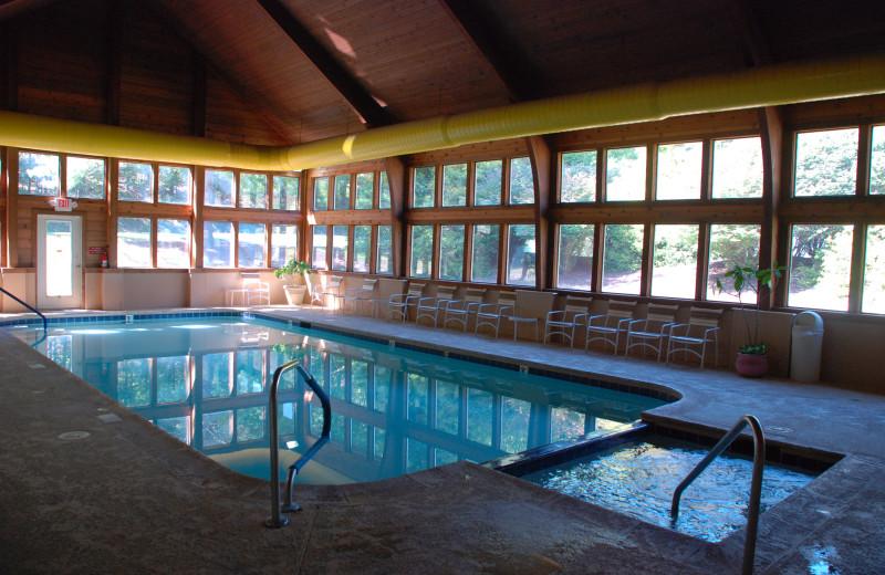 Indoor pool at Rumbling Bald Resort.