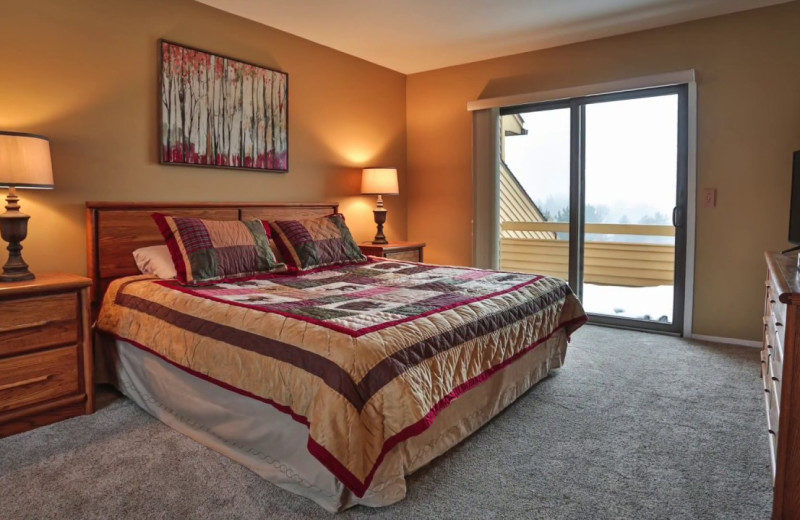 Guest bedroom at Trout Creek Vacation Condominiums.