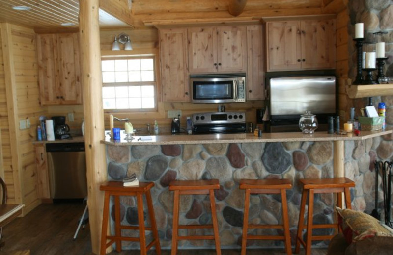 Cabin kitchen at Scenic Point Resort.
