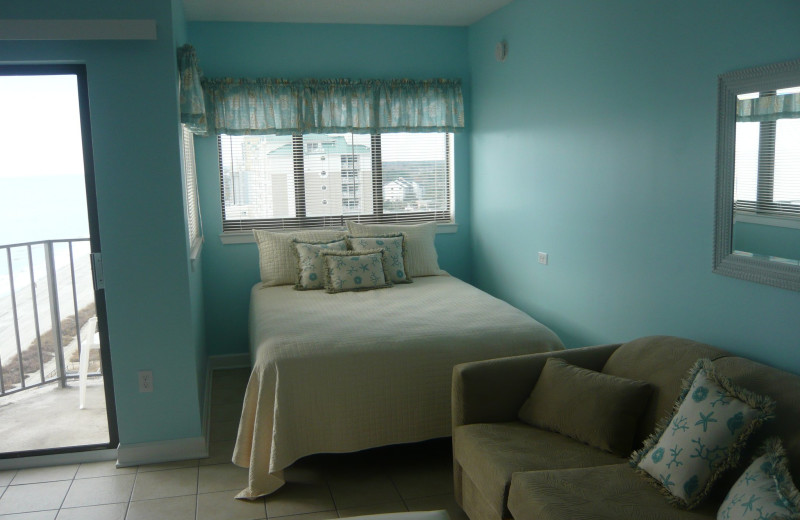 Vacation rental bedroom at Myrtle Beach Vacation Rentals.