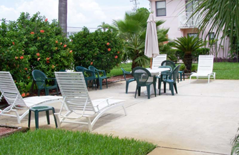 Vacation rental patio at Gulf Winds Resort Condominiums.