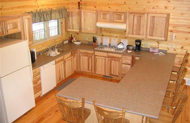 Cottage kitchen at Riverbend Retreat Resort Lodge & Cottages.