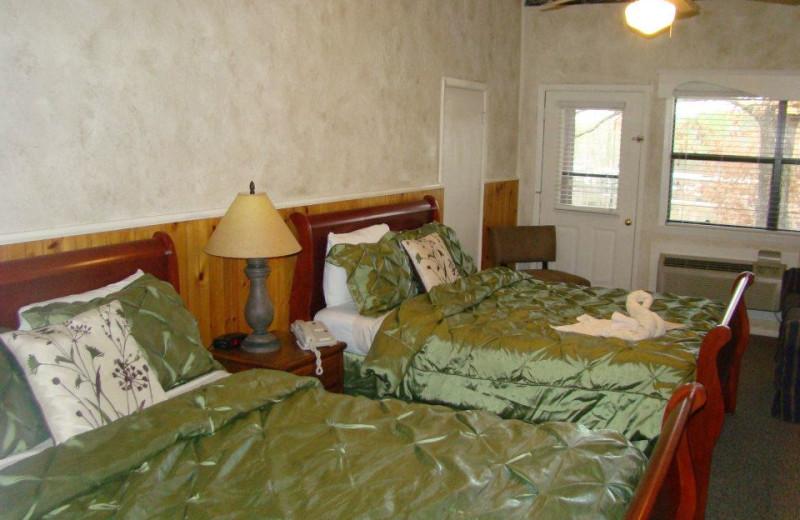 Guest bedroom at Mountain Harbor Resort.
