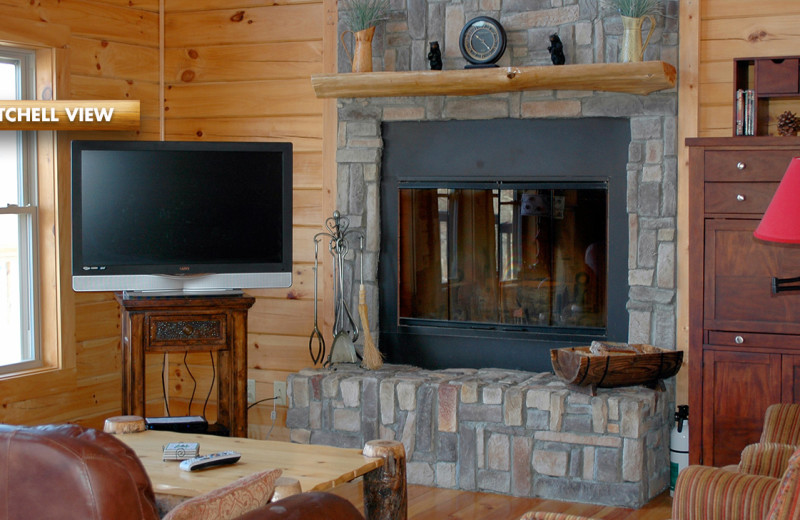 Rental fireplace at High Rock Rentals.