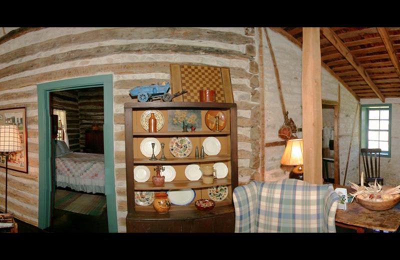 Pioneer Log Cabin interior at Settlers Crossing.