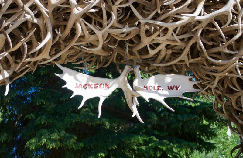 Elk horns at Wyoming Inn of Jackson Hole.