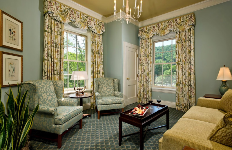 Guest room parlor room at The Otesaga Resort Hotel.