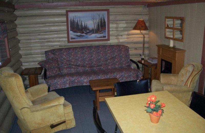 Cabin living room at Silv'ry Moon Lodge.