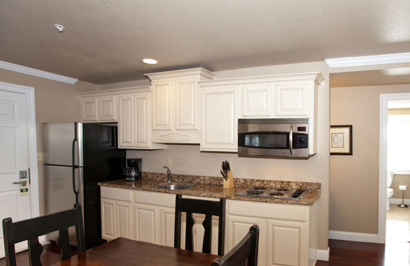 Guest kitchen at Oasis Suites.