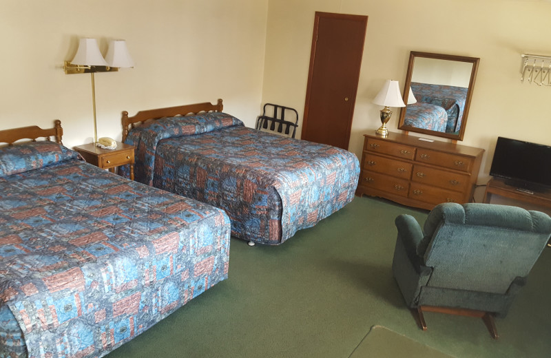 Guest room at Riverbank Motel & Cabins.
