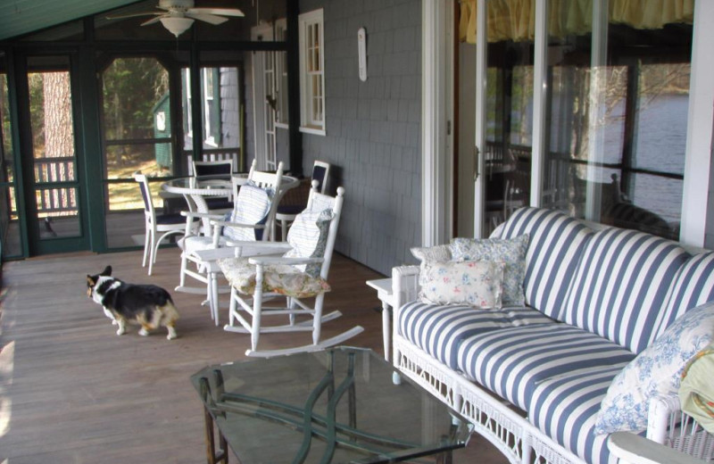 Rental porch at Franconia Notch Vacations Rental & Realty.