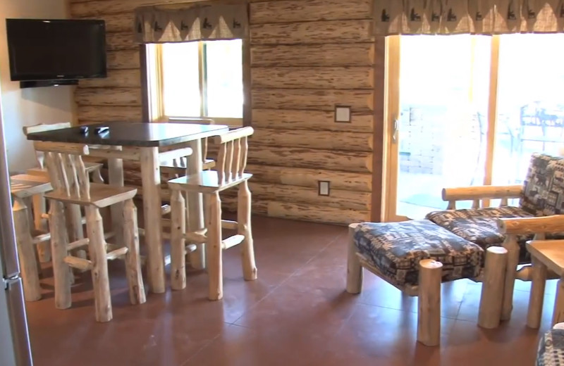 Cabin interior at Zippel Bay Resort.