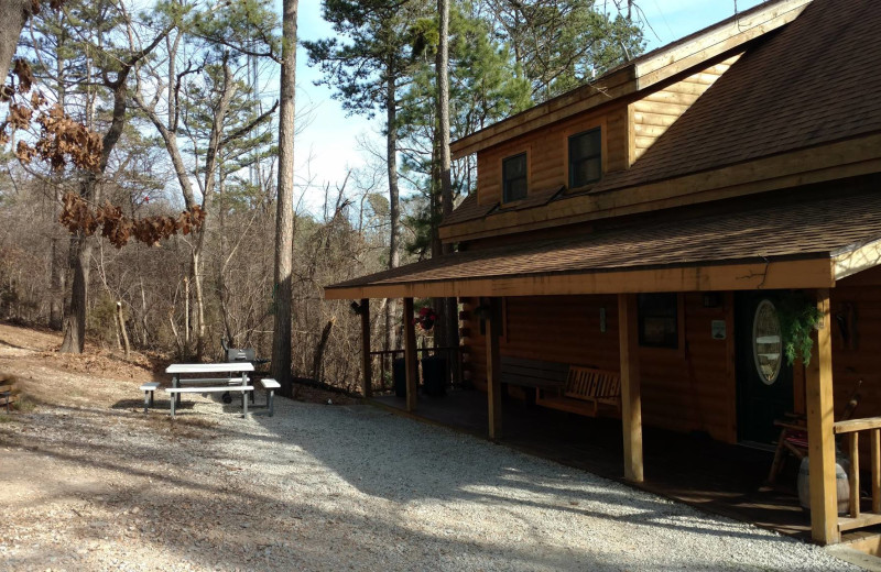 Cabin exterior at Pine Ridge Log Cabins.