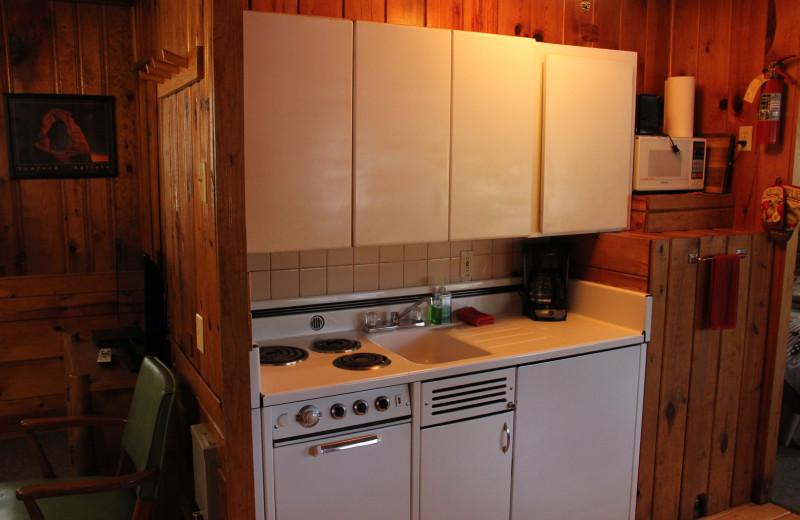 Cabin kitchen at Hidden Rest Resort.