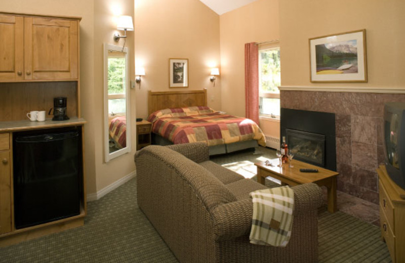 Suite interior at Banff Rocky Mountain Resort.