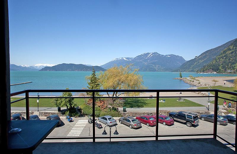 Hotel overlooking Harrison Lake at Harrison Beach Hotel.