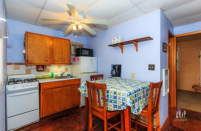 Cabin kitchen at Kon Tiki Resort.