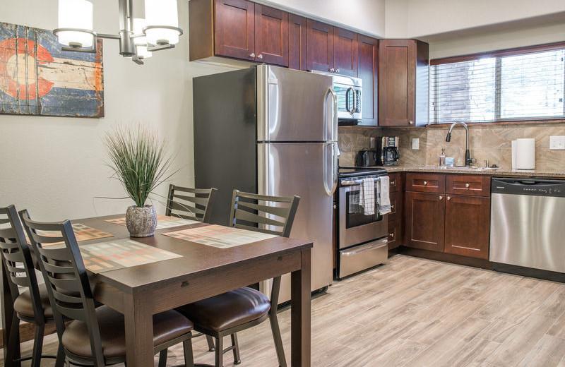 Rental kitchen at Fall River Village Resort Condos.