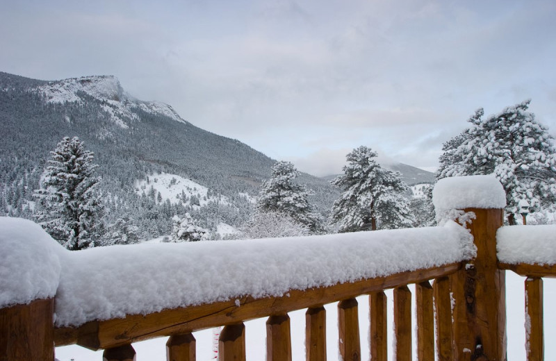 Deck view at McGregor Mountain Lodge.