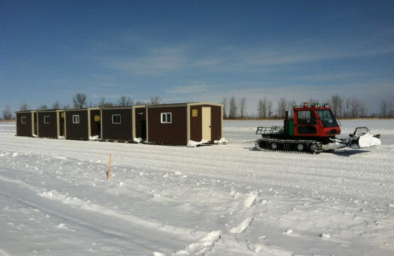 Ice fishing houses at Cyrus Resort.