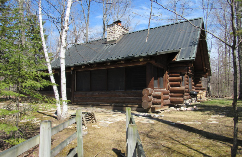 Cabin exterior at Drummond Island Resort and Conference Center.