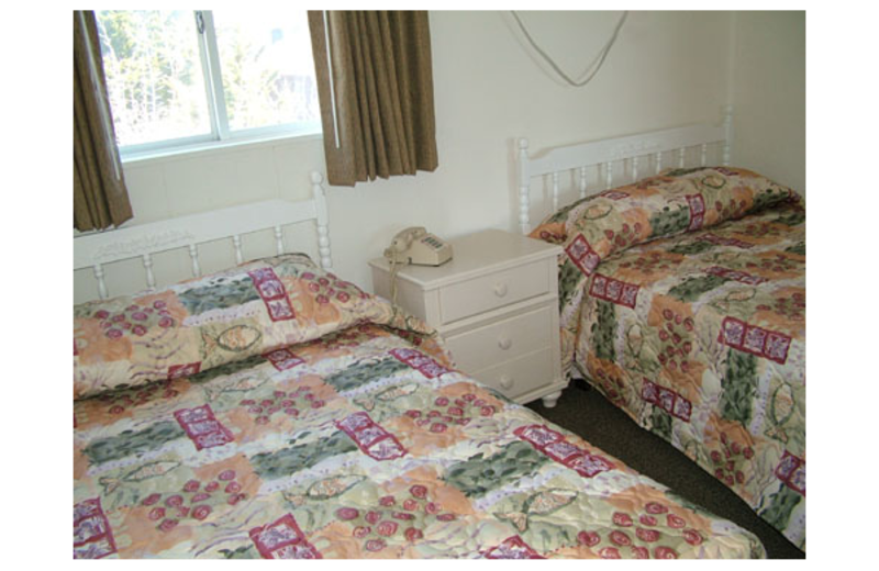 Guest beds at Lollipop Motel.
