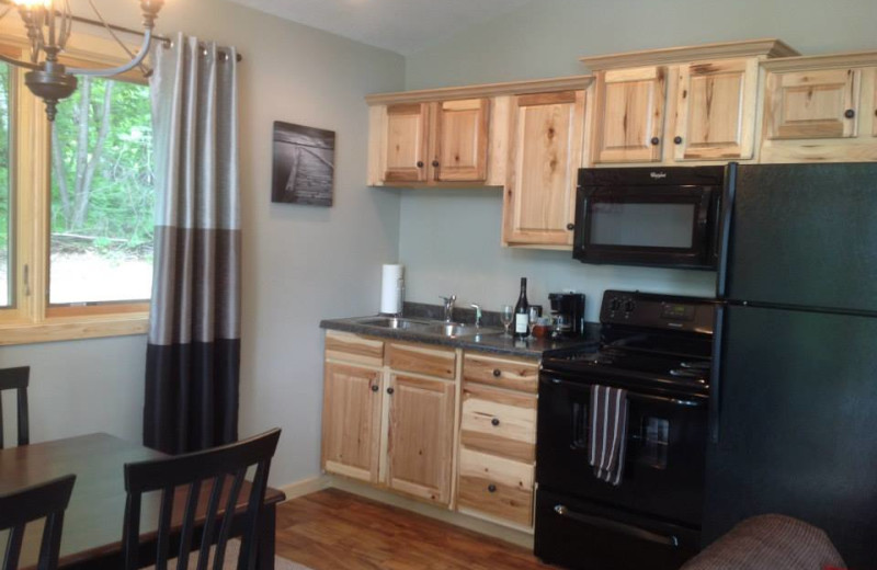 Cabin kitchen at Lost Lake Lodge.