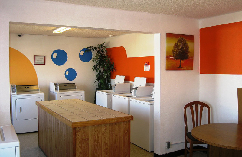 Laundry room at Sunrise Suites.