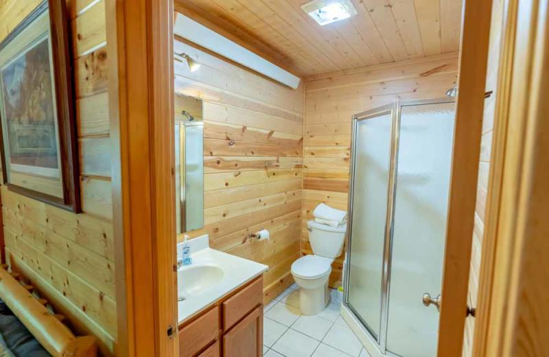 Cabin bathroom at The Red Door Resort.